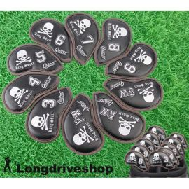 GUIOTE SKULL BLACK & WHITE IRON COVER SET 10 x Head Cover